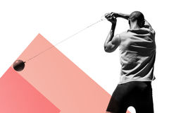 Composite image of rear view of sportsman practising hammer throw. Rear view of sportsman practising hammer throw against colored background royalty free stock photos