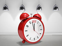 Composite image of 2015 in red alarm clock. 2015 in red alarm clock against grey room Stock Photography