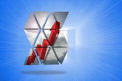 Composite image of red arrow on abstract screen Stock Photography
