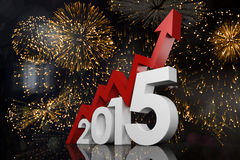 Composite image of 2015 with red arrow. 2015 with red arrow against colourful fireworks exploding on black background Royalty Free Stock Photography
