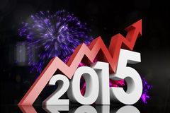Composite image of 2015 with red arrow Royalty Free Stock Photography