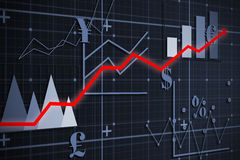 Composite image of red arrow. Red arrow against graph Stock Photo