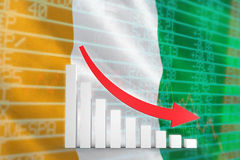 Composite image of red arrow and bar chart Royalty Free Stock Image