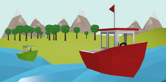 Composite image of red boat over white background. Red boat over white background against illustrative image of tree Stock Photography