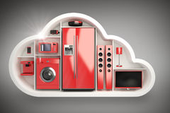 Composite image of red colored appliance in cloud shape 3d Royalty Free Stock Photo
