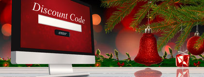 Composite image of red decorations on branch Stock Photography