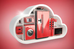 Composite image of red electrical appliance in cloud shape 3d Stock Images
