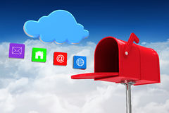 Composite image of red email postbox Royalty Free Stock Photography