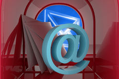 Composite image of red email postbox Royalty Free Stock Image