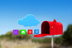 Composite image of red email postbox Stock Photos