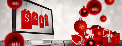 Composite image of red gifts with white bow Stock Images