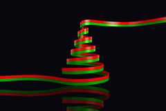 Composite image of red and green christmas tree ribbon Stock Images