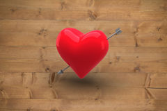 Composite image of red heart. Red heart against bleached wooden planks background Stock Photos