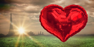 Composite image of red heart balloon Stock Photos