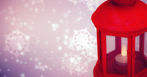 Composite image of red lantern on white background Stock Images