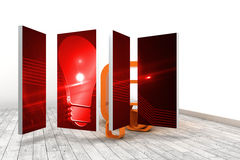 Composite image of red light bulb graphic on abstract screen Royalty Free Stock Images