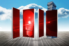 Composite image of red light bulb graphic on abstract screen Stock Photos