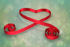 Composite image of red ribbon heart Royalty Free Stock Photography