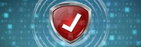Composite image of red symbol validation Royalty Free Stock Photography