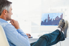 Composite image of relaxed man with feet on desk using computer Royalty Free Stock Images