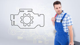 Composite image of repairman carrying toolbox while looking asway Stock Images