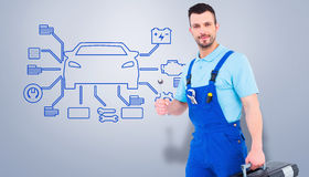 Composite image of repairman with toolbox and spanner Stock Image