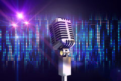 Composite image of retro chrome microphone Stock Photography
