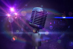 Composite image of retro chrome microphone Stock Photos