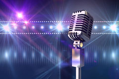 Composite image of retro chrome microphone Royalty Free Stock Image