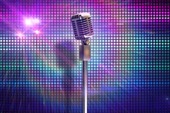 Composite image of retro microphone on stand Royalty Free Stock Photography