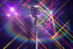 Composite image of retro microphone on stand Stock Photos