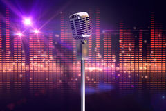 Composite image of retro microphone on stand Stock Photography