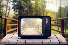 Composite image of retro tv. Retro tv against bridge with railings leading towards forest Royalty Free Stock Photography