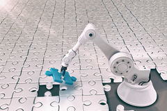 Composite image of robot setting up jigsaw puzzle 3d Royalty Free Stock Images