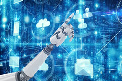 Composite image of robotic hand pointing Stock Photos