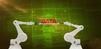 Composite image of robotic hands holding red data message Royalty Free Stock Photo