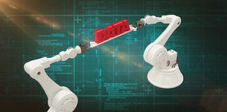 Composite image of robotic hands holding red data message over green background Stock Image