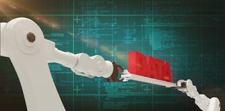 Composite image of robotic hands holding red data text against Stock Images