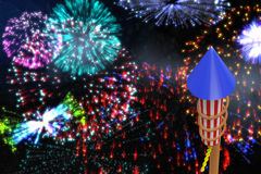 Composite image of rocket for firework Royalty Free Stock Photos