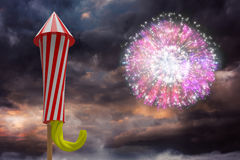 Composite image of rocket for firework Stock Images