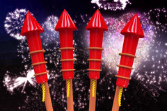 Composite image of rockets for fireworks Stock Photography