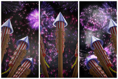 Composite image of rockets for fireworks. Rockets for fireworks against colourful fireworks exploding on black background Stock Photography