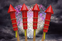 Composite image of rockets for fireworks Royalty Free Stock Photography
