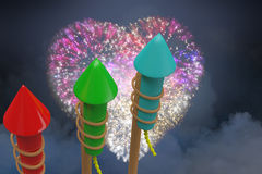 Composite image of rockets for fireworks Stock Images