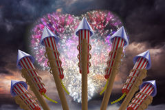 Composite image of rockets for fireworks Stock Photo
