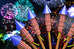 Composite image of rockets for fireworks Royalty Free Stock Image