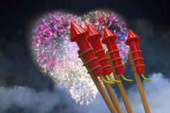 Composite image of rockets for fireworks Stock Image