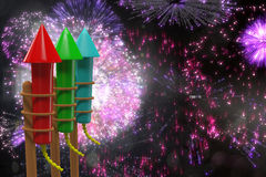 Composite image of rockets for fireworks Royalty Free Stock Photo