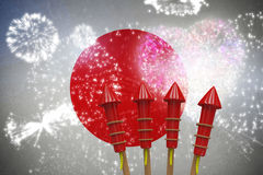 Composite image of rockets for fireworks Royalty Free Stock Images