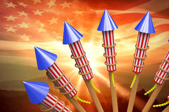 Composite image of rockets for fireworks Stock Photos